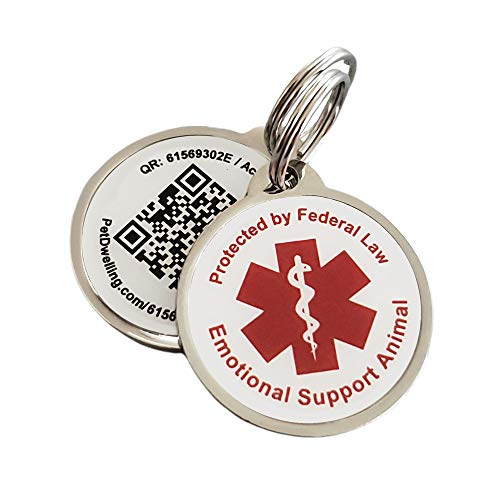 PetDwelling ESA QR Code Pet ID Tag Links to Online Profile w//ESA ID /Emergency Contact /Medical Info /Google Map Location Stamp (White 2D)