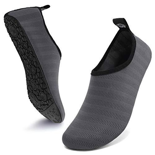 Deevike Water Shoes for Women Men Barefoot Quick-Dry Aqua Socks Beach Swim Yoga Exercise Meteor Shower Grey-38/39