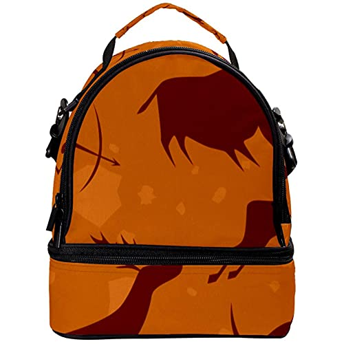 GIOVANIOR Rock Painting Animal Lunch Bag Insulated Lunch Box Picnic Bag School Cooler Bag for Men Women