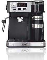 HAEGER Multi Coffee - Cafetera Espresso con 1450w, Capacidad: 1,2L - Pantalla de LED, Boquilla de Espuma y Bandeja de Goteo Desmontable, Cesta del Filtro extraíble y Lavable.