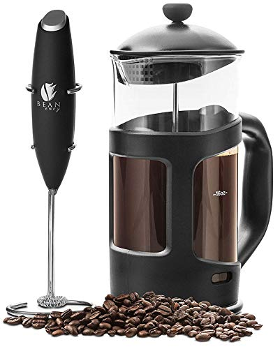 Professional Grade 34 oz French Press Coffee Maker & Premium Milk Frother
