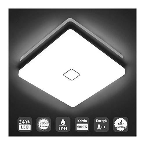 Öuesen LED 24W lámpara de techo resistente al agua moderna LED luz de techo Cuadrado delgada 2050lm Blanco frío 5000K para baño Dormitorio Cocina Sala de estar Comedor Balcón Pasillo