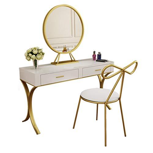 LAA Tocador blanco de lujo con cajones de espejo de tocador, silla de mariposa, para maquillaje, dormitorio, juego de joyas, mesa de tocador (tamaño: 100 x 40 x 75 cm)