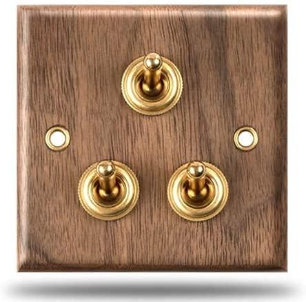 PJDOOJAE Interruptores de palanca 86 Tipo Palanca de latón 2-4 Gang Way de 2 vías Interruptor hecho a mano europeo Interruptor de la luz de la pared antigua Lámpara de doble control negra Negro de mad