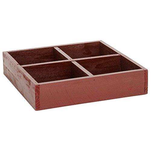 Laursen Kiste aus Holz mit 4 Fächer quadratisch rot 23 cm Aufbewahrung - Adventkranz - Adventsdeko - Adventsarrangement - Weihnachtsidee - Dekoidee