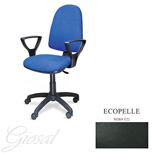Sedia Torino Poltrona Girevole Ecopelle Operativa Studio Ufficio Vari Colori GIOSAL-Nero