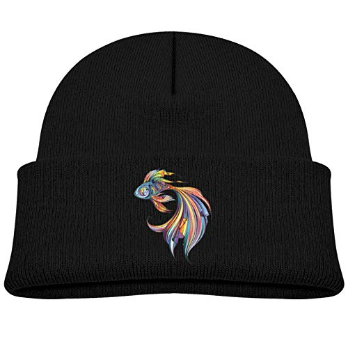 Rainbow Tribal Pattern Betta Fish Cartoon Icon 1 Soft and Comfortable, Stylish and Cute Knitted Hat