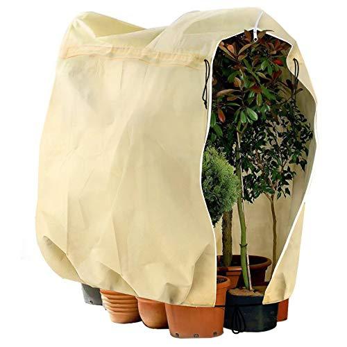 Telgoner Winter Plant Frost Protection Covers, Garden Fleece Frost Protection for Plants with Zipper Drawstring, Rip Resistant Garden Plant Warming Fleece Jacket, 180 x 120cm, Beige