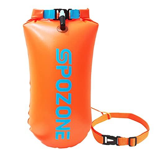 SPOZONE Boa Nuoto 20L Impermeabile Boa Gonfiabile, Galleggiante di Sicurezza per Sport Acquatici, Nuotatori, Triatleti, Snorkeling (Orange)