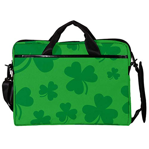 Unisex Computer Tablet Satchel Bag,Lightweight Laptop Bag,Canvas Travel Bag,13.4-14.5Inch with Buckles Green Lucky Irish Clover for St. Patrick's Day