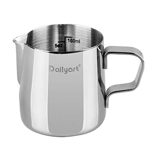 Dailyart Milk Frothing Jug Frothing Pitcher Espresso Steaming Pitcher Barista Tool Coffee Machine Accessory 304 (18/8) Stainless Steel 160ml
