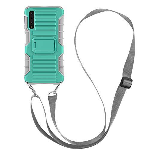 JAMMYLIZARD Cover a Tracolla Compatibile con Samsung Galaxy A7 2018 Custodia Protettiva Rigida Antiurto [Taurus] in Silicone TPU e Polimero, Verde