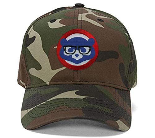 Cubs Camo Baseball Hat Chicago Cubbie with Joe Maddon Harry Caray Novelty Glasses