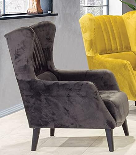 Casa Padrino sillón orejero de Lujo Negro 80 x 80 x A. 90 cm - Sillón de salón Moderno - Muebles de Salón