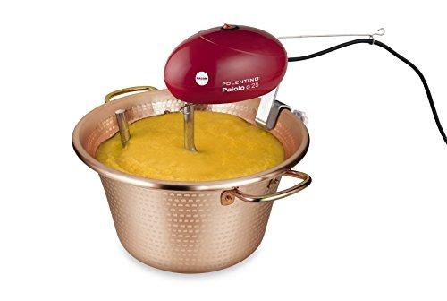 MACOM Just Kitchen 850 Paiolo Polentino con miscelatore elettrico, Rame, Diametro 25 cm