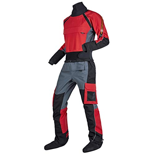 KING-Q PROOF Mens Kayak Surf Drysuit Comfort Canoe Durability Waterproof SuitProtects Against Ingress of Water Mud Perfect Dry Suit for Fit ATV & UTV Riders (Red, XXL)