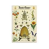DSXZ Poster, Vintage-Pflanze, Bienen und Honig, dekoratives