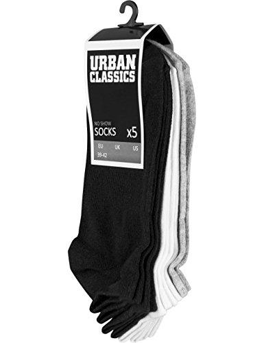 Urban Classics Herren No Show 5-Pack Socken, blk/wht/Gry, 43-46