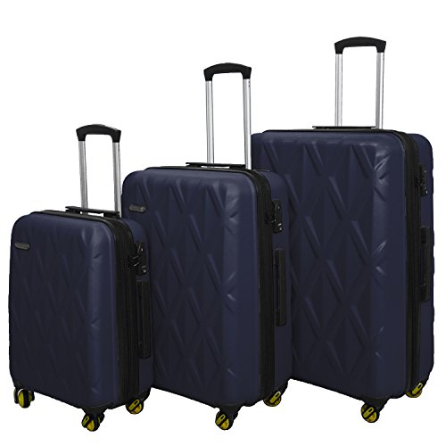 HyBrid & Company Luggage Set Durable Lightweight Hard Case Spinner Suitcase LUG3-SS505A, 3 Pieces, Navy