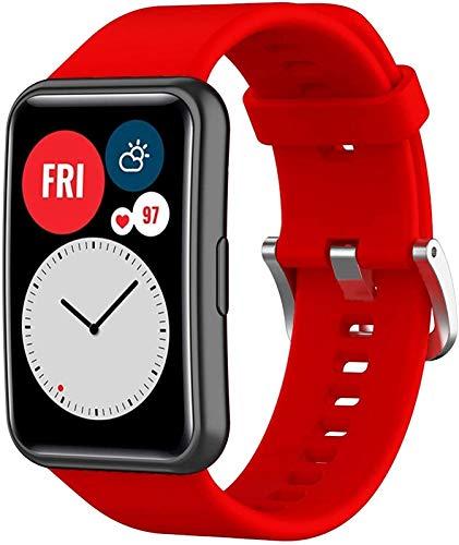 CRFYJ Banda de Silicona para el Reloj Huawei Fit Correa SmartWatch Accesorios de reemplazo Pulsera de la Pulsera Pulsera Forhuawei Watch Fit Strap 2020 Reloj Correa (Band Color : Red)