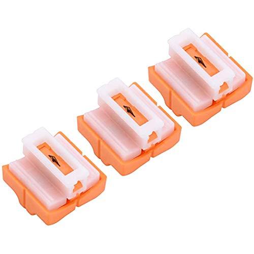 Cuchillas de repuesto, NALCY 3pcs Cuchillas de Corte de Papel con Diseño de Seguridad Automática para Recortadora de Papel A4, Naranja