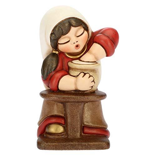 THUN® - Donna Vasaia con Tornio - Versione Rossa - Statuine Presepe Classico - Ceramica - I Classici