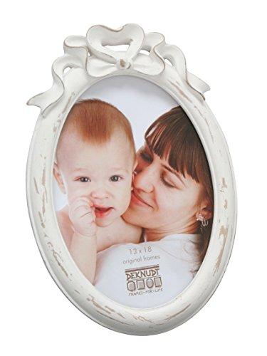 Deknudt Frames S66PE1-10.0X15.0 fotolijst voor meerdere foto's, ovaal, met strik, 21 x 14,5 x 3,2 cm, wit