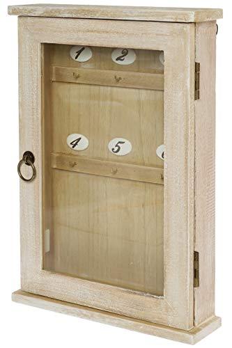 elbmöbel Schlüsselbrett Holz braun Vintage Shabby chic Schlüsselkasten Schlüsselschrank Metall-Haken Landhaus H40 x B27 x T7 cm