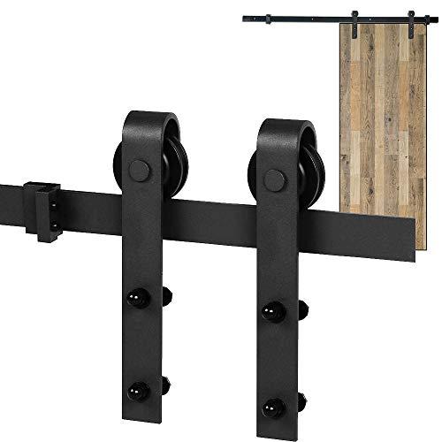 Schiebetürsystem Laufschiene, ZUYOKO Schiebetür Komplettset Schiebetürbeschlag für Schranktüren Schiebetür Holz (180CM)