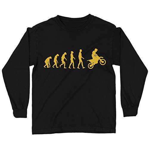 lepni.me Camiseta para Niños Evolución del Motocross Equipo de Moto Ropa de Carreras Todoterreno (3-4 Years Negro Oro)