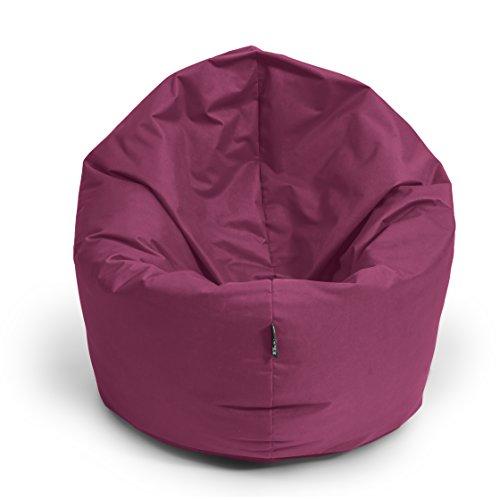 BuBiBag Sitzsack L - XXL 2 in 1 mit Füllung Sitzkissen Topfenform Bodenkissen Kissen Sessel BeanBag (125 cm Durchmesser, weinrot)
