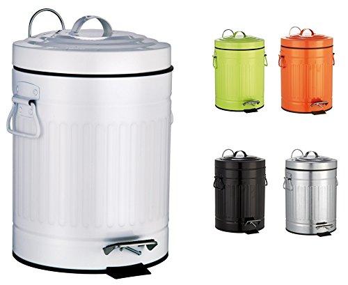 SANWOOD 1008226OscarCubo de Pedal con Descenso automático Cubo de Basura para el baño 5l diseño de contenedor Retro, Metal, Color Blanco, 26x 20,5x 30,8cm.