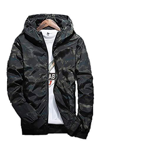Ivan Johns Coats Camouflage Kapuzenjacke Herren Wasserdicht Kleidung Herren Windjacke Mantel Herren Outwear Plus Size 4XL - schwarz - Mittel