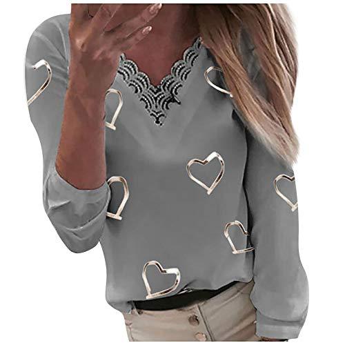 BaZhaHei Donna Camicia,Camicetta Donna Elegante Manica Lunga A Quadri Collo Alto Moda Casual Maglietta Primavera Estate Top Loose Cotone T-Shirt Pullover (Gray 8, XL)