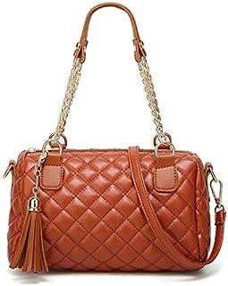 Docooler Fashion Women Plaid Shoulder Bag PU Leather Zip Top Grab Handle Tassel Decor Crossbody Bag Quilted Handbag
