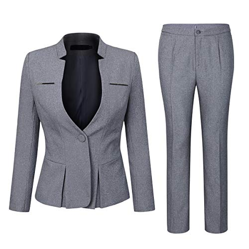YYNUDA Anzug Set Damen Blazer mit Rock/Hose Slim Fit Hosenanzug Elegant Business Outfit für Office