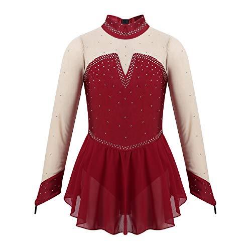 iixpin Vestido Niñas de Patinaje Artistico Vestido de Danza Mailot de Ballet Manga Larga Cuello Alto Traje Bailarina Actuación 4-14 Años Vino 9-10 años