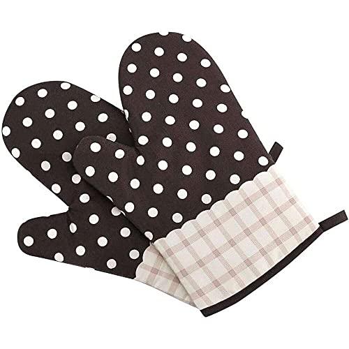 Yuyanshop 1 par de guantes de algodón para horno, resistentes al calor, antideslizantes, para microondas, cocina, para hornear, asar a la parrilla, barbacoa