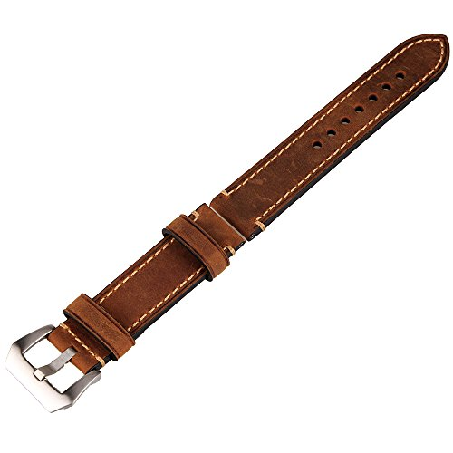Brown 22mm Genuine Leather Wristwatch Watch Strap Band Watchband Stainless Buckle