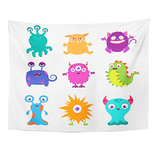 "AOCCK Wandteppiche, Tapestry Wall Hanging Colorful Cartoon Funny Monsters Character Animal Happy Alien Demon 60""x 80\"" Home Decor Art Tapestries for Bedroom Living Room Dorm Apartment"