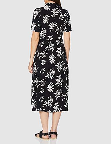 Marca Amazon - find. Vestido Midi Camisero de Flores Mujer, Negro (Black/White), 46, Label: XXL