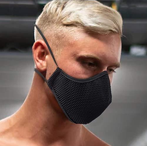 Mascarilla deportiva negra tejido 3D homologada reutilizable producto...