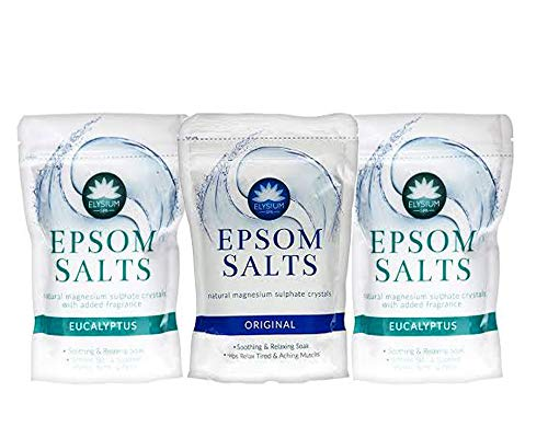 Elysium Spa Epsom Salts Natural Magnesium Sulphate Crystals, Bundle of 3 : Original (1pck) and Eucalyptus (2pcks)