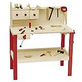 roba Établi avec accessoires, grand établi en bois massif, avec nombreux accessoires, grand plan de travail avec 3 petits tiroirs sur le panneau arrière et crochets pour accrocher les outils.