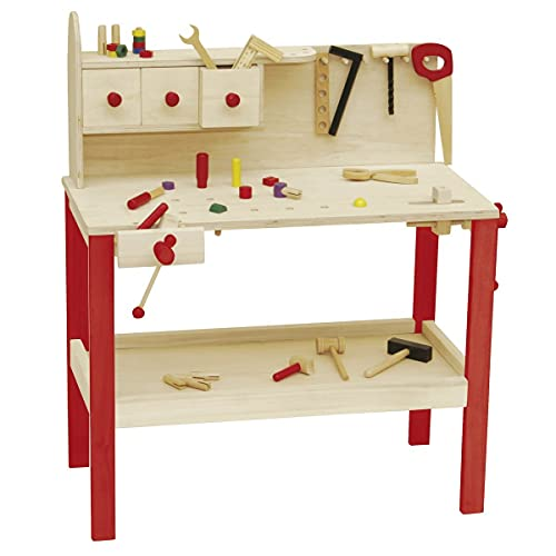roba Werkbank, grosse Spielwerkbank aus Holz, Meister-Werkbank mit umfangreichem Werkzeug Set, grosser Arbeitsplatte, Ablage u, 3 Schubfächern