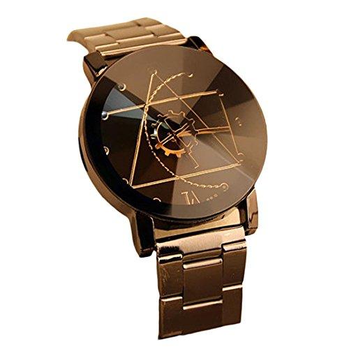 DDLBiz Moda Uomo disegno ago della bussola dell'acciaio inossidabile quarzo analogico orologio da polso (quadrante nero)