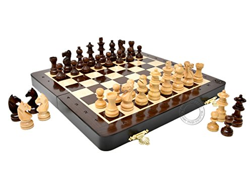 Jogo de Xadrez Magnético de Madeira (25cm) Portátil + Extras: 2 Rainhas, 4 Cavalos, 2 Peões e Anotações Algébrica