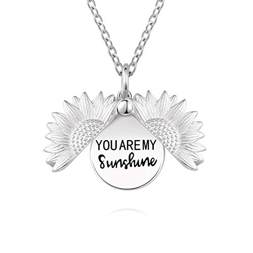 YWN Sterling Silver You are My Sunshine Sunflower Urn Necklace Eternity Cremation Jewelry Pendant Necklaces for ashes of loved one