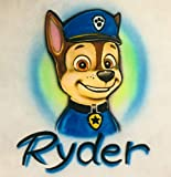 Airbrush T Shirt, Chase, Police Dog, K9, personalized with name, Paw Patrol
