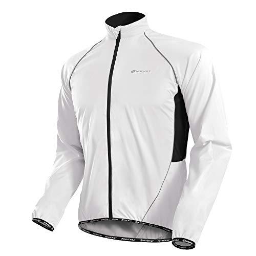 WAZA Fahrradjacke für Herren, langärmelig, für Sport, Mountainbike, Rennrad, Fahrradbekleidung Gr. XL, weiß